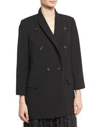 Brunello Cucinelli Double Breasted Wool Blazer Black