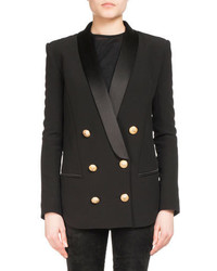 Balmain Double Breasted Wool Cashmere Tailored Pea Coat