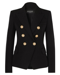 Balmain Double Breasted Wool Twill Blazer