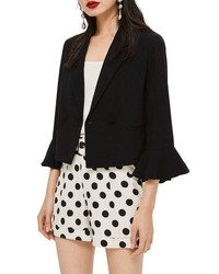 Topshop Frill Sleeve Double Breasted Jacket