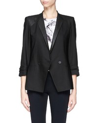 Helmut Lang Combed Leather Trim Double Breasted Wool Blazer