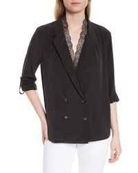 Equipment Lace Collar Double Breasted Silk Top