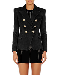 Balmain Leather Double Breasted Blazer