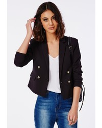 Missguided Double Breasted Cropped Blazer Black