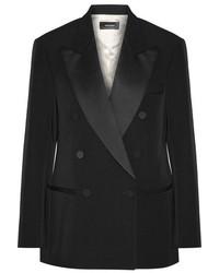 Isabel Marant Oversized Satin Trimmed Wool Twill Blazer Black