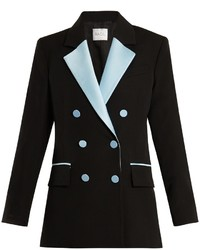 Racil Paris Double Breasted Contrast Lapel Wool Blazer