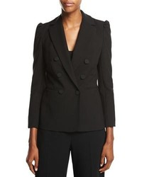 Rebecca Taylor Double Breasted Suiting Blazer Black