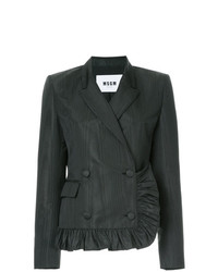 MSGM Ruched Trim Double Breasted Blazer