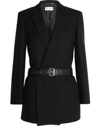 Saint Laurent Belted Double Breasted Wool Twill Blazer