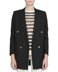 Saint Laurent Goldtone Button Double Breasted Wool Blazer