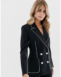 ASOS DESIGN Suit Blazer In Mono With Contrast Piping