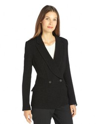 Theyskens' Theory Theyskens Theory Black Textured Double Breasted 2 Button Blazer