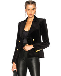 PIERRE BALMAIN Velvet Double Breasted Blazer In Black