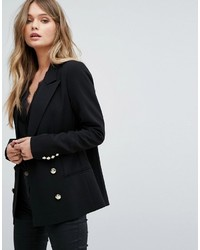 Yas Double Breasted Blazer With Gold Buttons