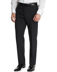 Basic flat front wool trousers black medium 682303