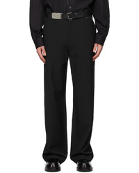 We11done Black One Side Flap Detail Trousers