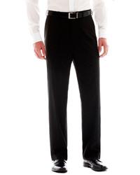 Izod Black Striped Flat Front Suit Pants