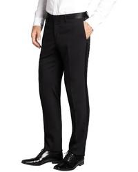 Dolce & Gabbana Black Wool Blend Textured Tux Pants