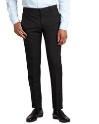 Prada Black Wool Flat Front Straight Leg Pants