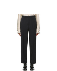 Gucci Black Wool Gabardine Logo Trousers