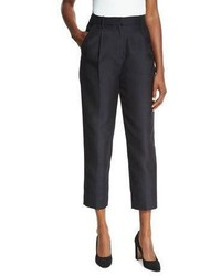 Co Classic Single Pleat Cropped Trousers Black