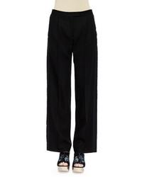 Alexander McQueen Flat Front Tuxedo Trousers Black