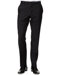 Burberry Flat Front Woolmohair Trousers Black