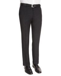 BOSS Genesis Slim Fit Wool Trousers Black