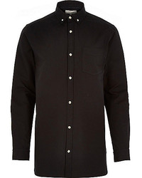 River Island Black Long Sleeve Oxford Shirt