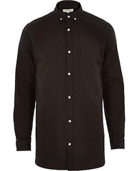 River Island Black Longer Length Oxford Shirt