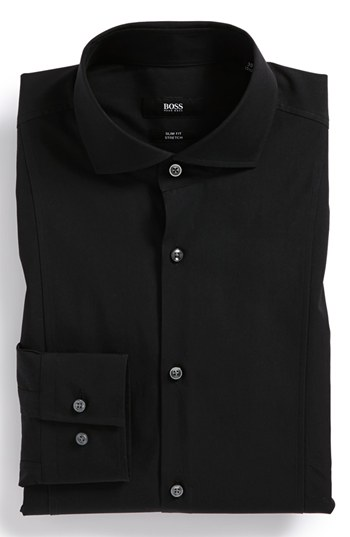 Boss hugo boss slim fit stretch dress shirt black 16 for Hugo boss slim dress shirt