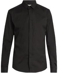 Valentino Button Cuff Slim Fit Cotton Blend Shirt