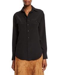 Ralph Lauren Collection Long Sleeve Button Front Shirt Black