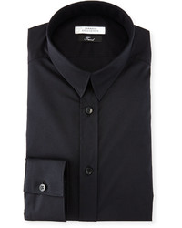Versace Collection Solid Cotton Dress Shirt Black