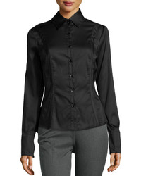 Neiman Marcus Curve Stitch Long Sleeve Blouse Black