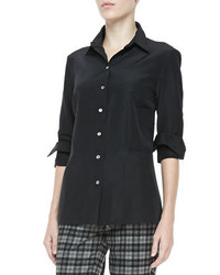 Michael Kors Faille Button Front Shirt Black Michl Kors