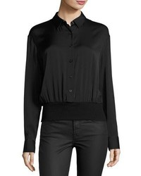 Long sleeve stretch silk pullover shirt black medium 3663941
