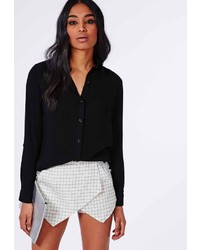 Missguided Rolled Sleeve Muslin Shirt Black