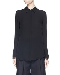 Theory Niteesh Fringe Cuff Silk Georgette Shirt