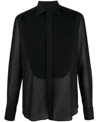Canali Sheer Front Bib Shirt