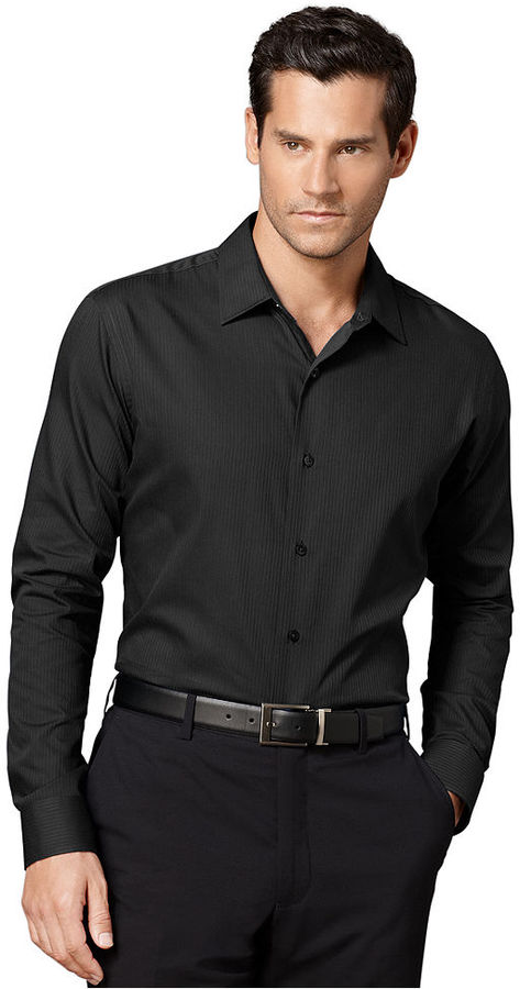 Van heusen shirt long sleeve satin striped shirt where for Van heusen dress shirts