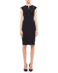 Akris Punto Cap Sleeve Zip Front Seamed Dress Black