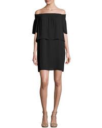 Amanda Uprichard Cleo Off The Shoulder Popover Dress Black