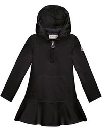 Moncler Hooded Cotton Stretch Flounce Dress Black Size 8 14