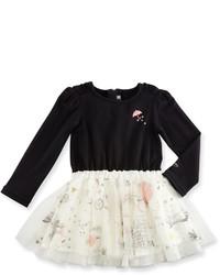 Catimini Long Sleeve Mixed Media Dress Black Size 12m 3