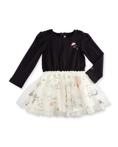 Catimini Long Sleeve Mixed Media Dress Black Size 12m 3