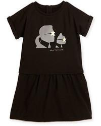 Karl Lagerfeld Milano Short Sleeve Smocked Jersey Dress Black Size 12 16