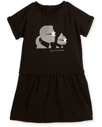 Karl Lagerfeld Milano Short Sleeve Smocked Jersey Dress Black Size 6 10