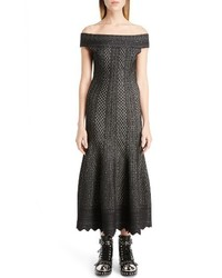 Alexander McQueen Off The Shoulder Bicolor Jacquard Dress