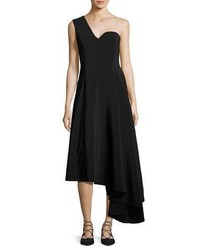 Rosetta Getty One Shoulder A Line Dress With Asymmetric Hem Black